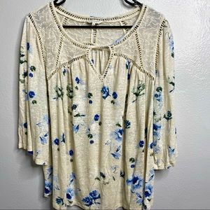 LUCKY NRAND LACE FRONT TUNIC BLOUSE